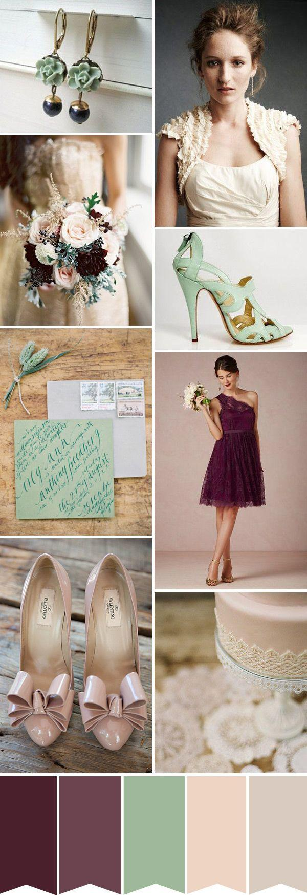 plum and seafoam green wedding color ideas