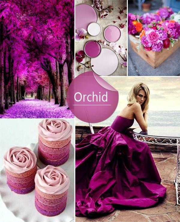 shades of purple orchid spring wedding color palettes