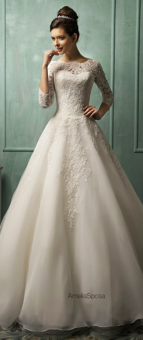 amelia sposa a line vintage lace sleeves wedding dresses
