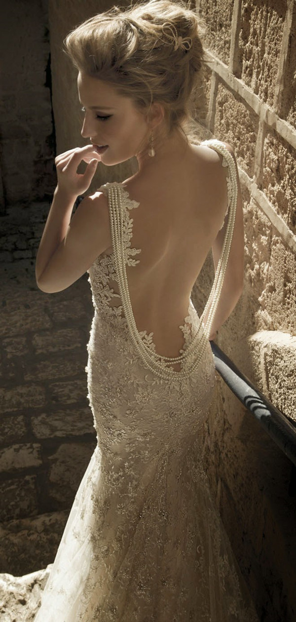 Galia lahav gatsby style pearl and sequins vintage lace for Vintage backless wedding dresses