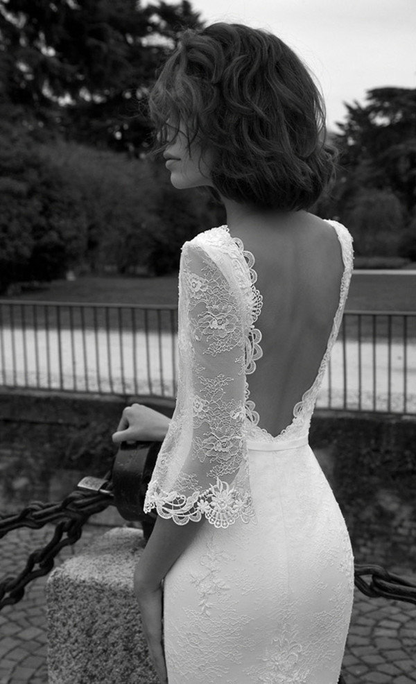 liz martinez lace sleeves backless vintage wedding dresses