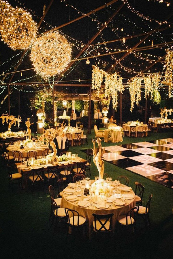Lights up evening wedding reception ideas for rustic for Diy wedding reception lighting