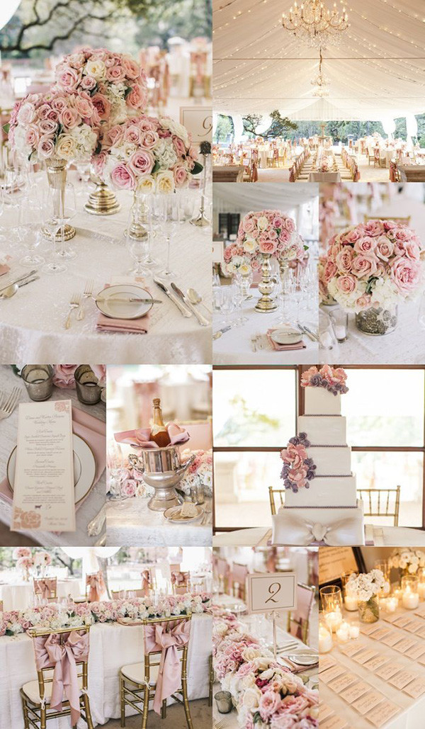 romantic pink elegant wedding reception ideas for modern weddings