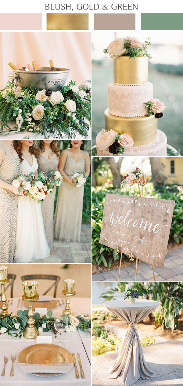 rustic elegance blush pink and gold wedding color ideas