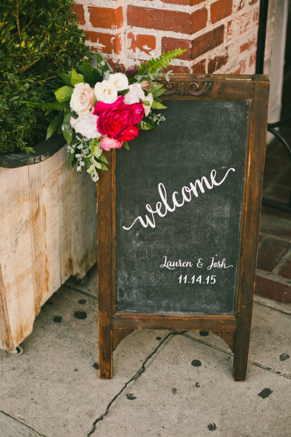 vintage rustic wedding chalkboard welcome sign with flower decoration