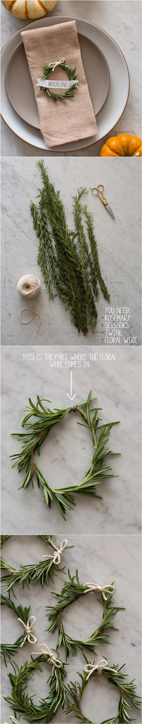 diy Rosemary Wreath Place Cards for wedding reception ideas