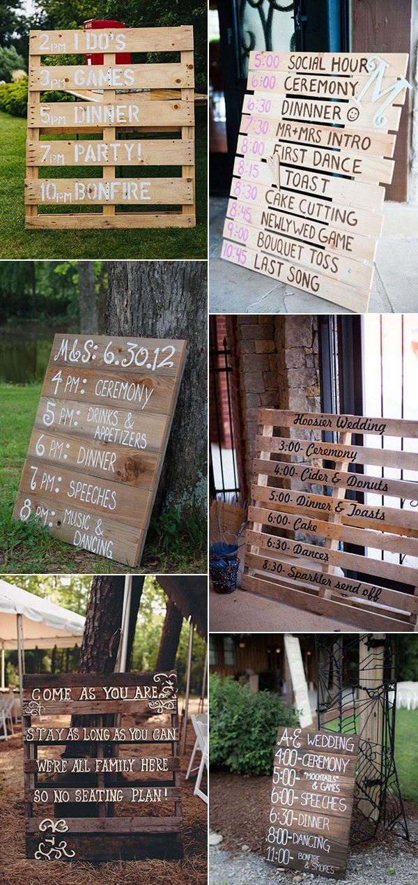 2017 wedding trends 36 perfect rustic wood themed wedding ideas oh wooden pallet wedding signs for country rustic events junglespirit Images