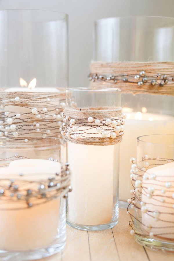 candle wedding ideas Pearl Beads on Wire Garland