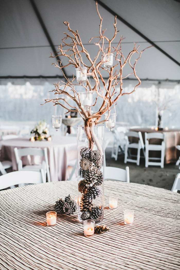PineCones and candles inspired winter wedding centerpieces