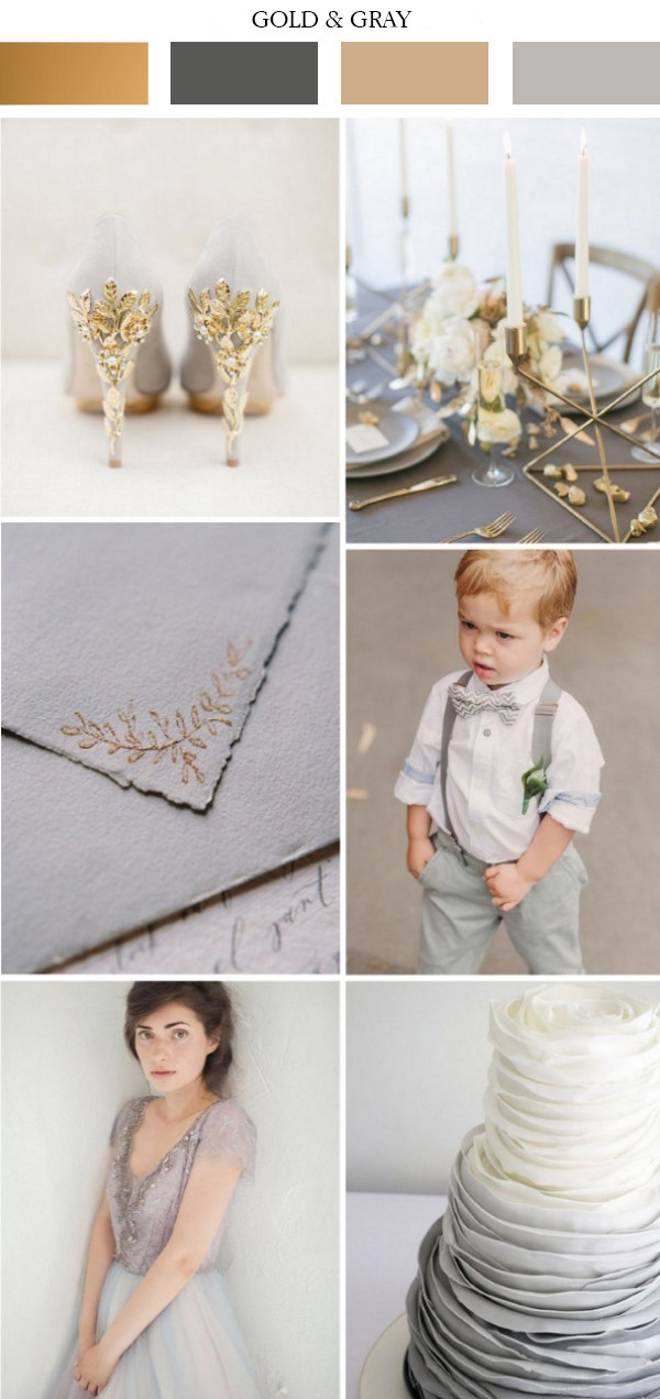 elegant gold and gray wedding color ideas 2017 trends