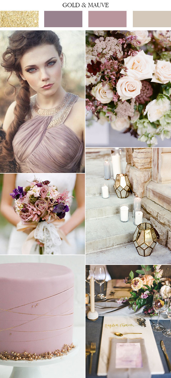 elegant gold and mauve lilac gray wedding colors