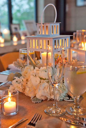 elegant lantern winter wedding centerpieces