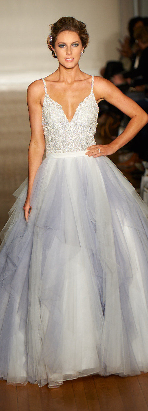 fairytale ball gown v neck wedding dresses with a touch of blue color
