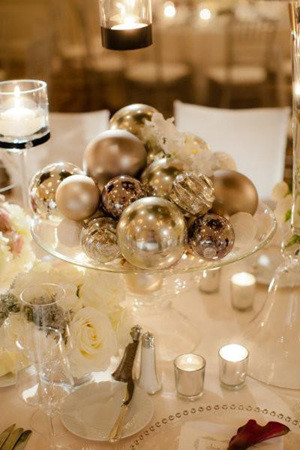 winter glam wedding centerpieces