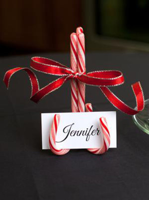 christmas themed wedding place cards ideas