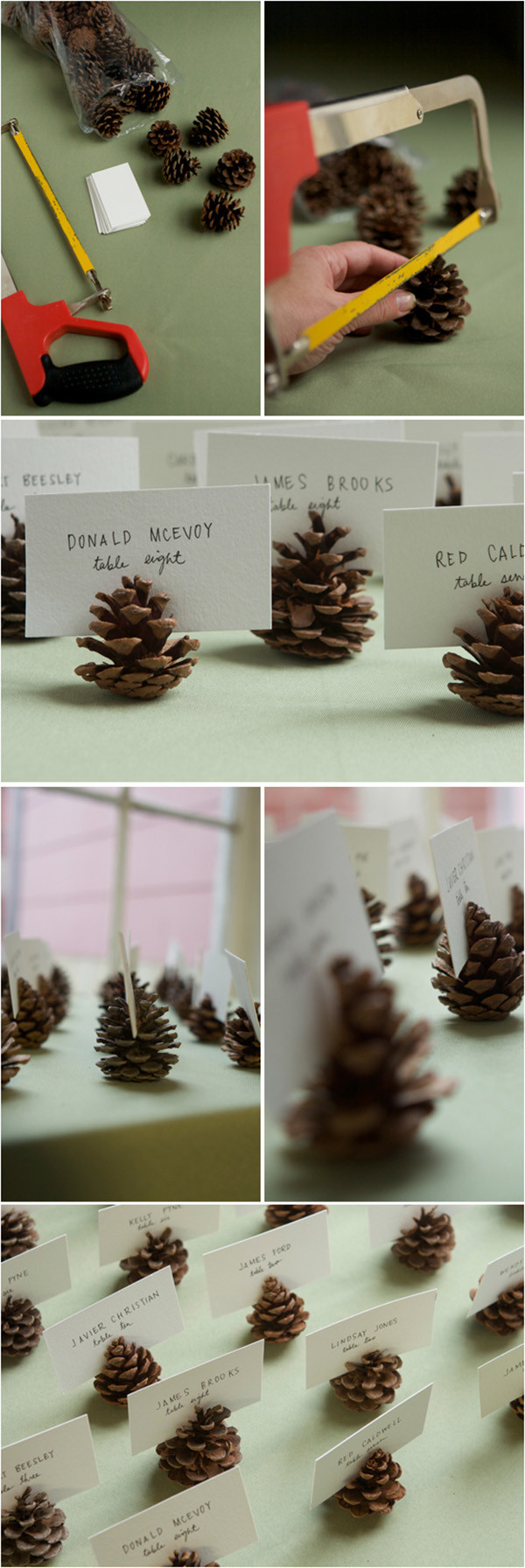 diy pinecone seating card holders for winter christmas wedding ideas