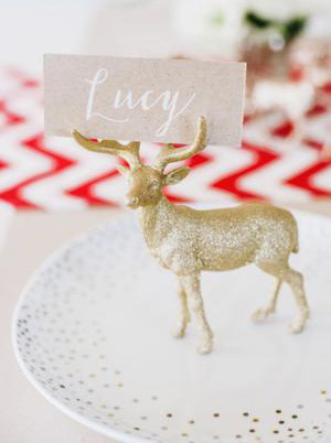 glitter gold deer wedding place card ideas