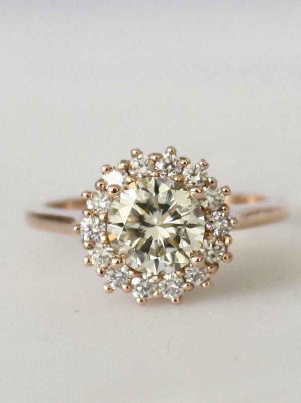 rose gold halo wedding engagement ring