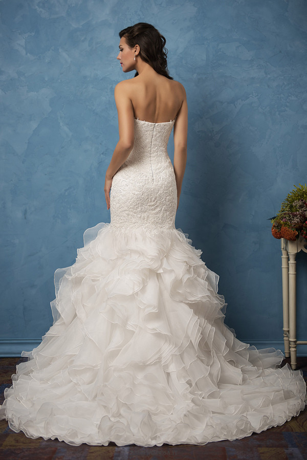 strapless mermaid amelia sposa wedding dresses back view