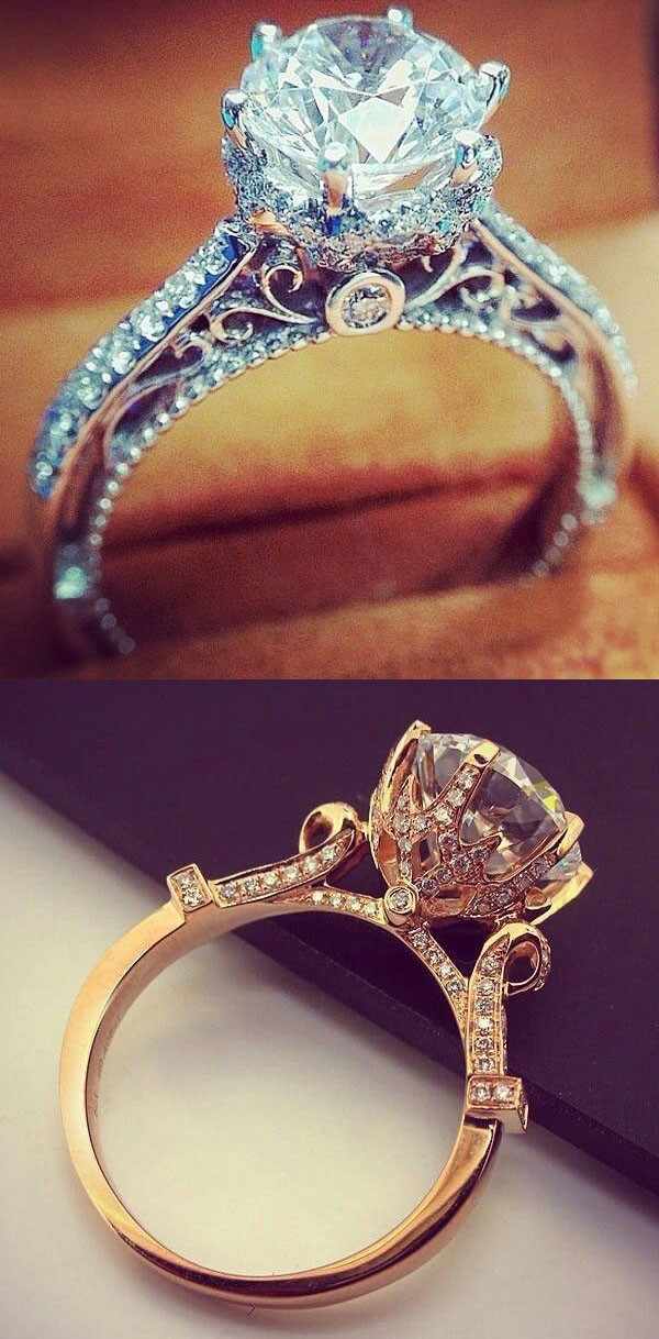 vintage wedding ring ideas white and rose gold