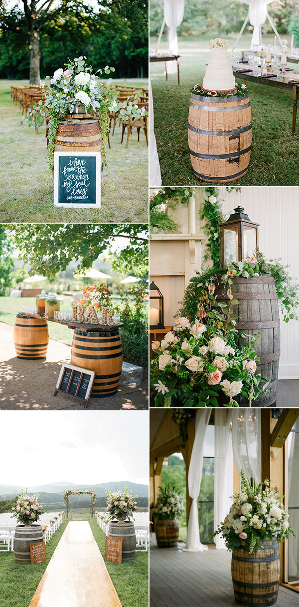 20 adorable ways to use wine barrels for your country for Country wedding reception decorations