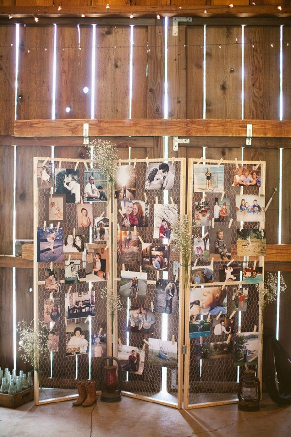 familiy photos display ideas for country rustic wedding decorations