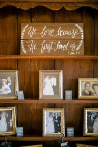 family photos display for vintage wedding ideas