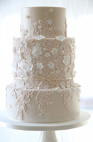 Ivory Wedding Cakes With Detailed Lace And Flowers