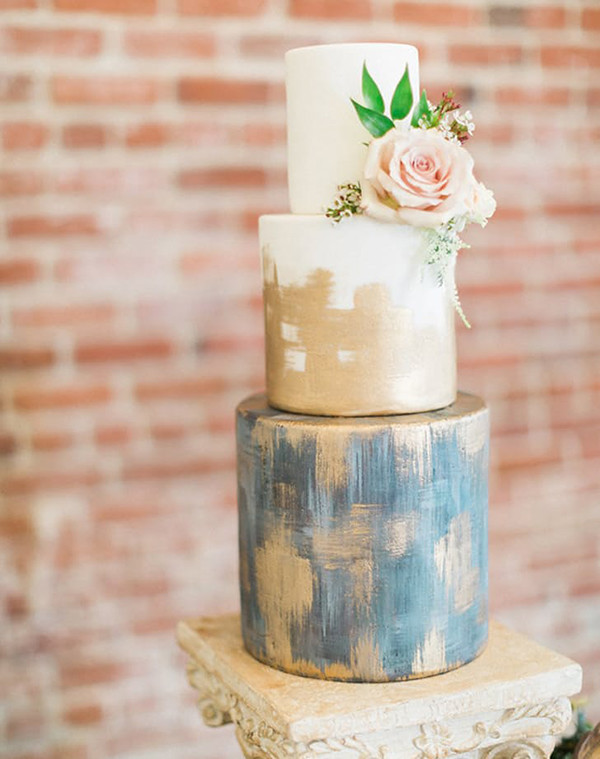 metallic gold and blue three tiers modern wedding cakes with floral