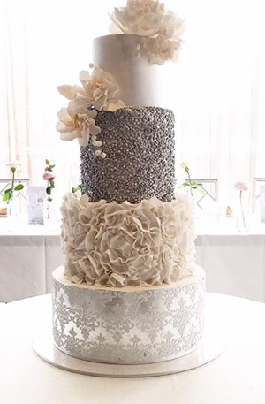 modern metallic silver and white wedding cakes