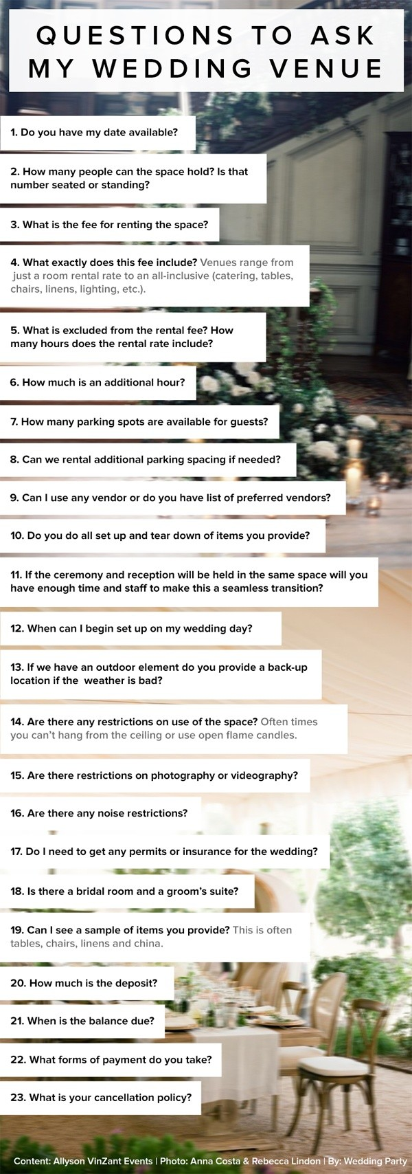 questions about wedding venues ideas