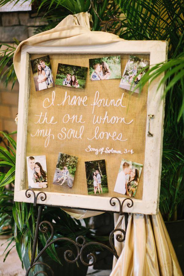 rustic wedding photo diesplay ideas