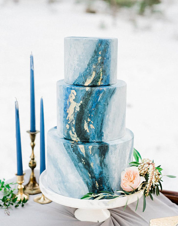 shades of blue geode wedding cakes for 2017 trends