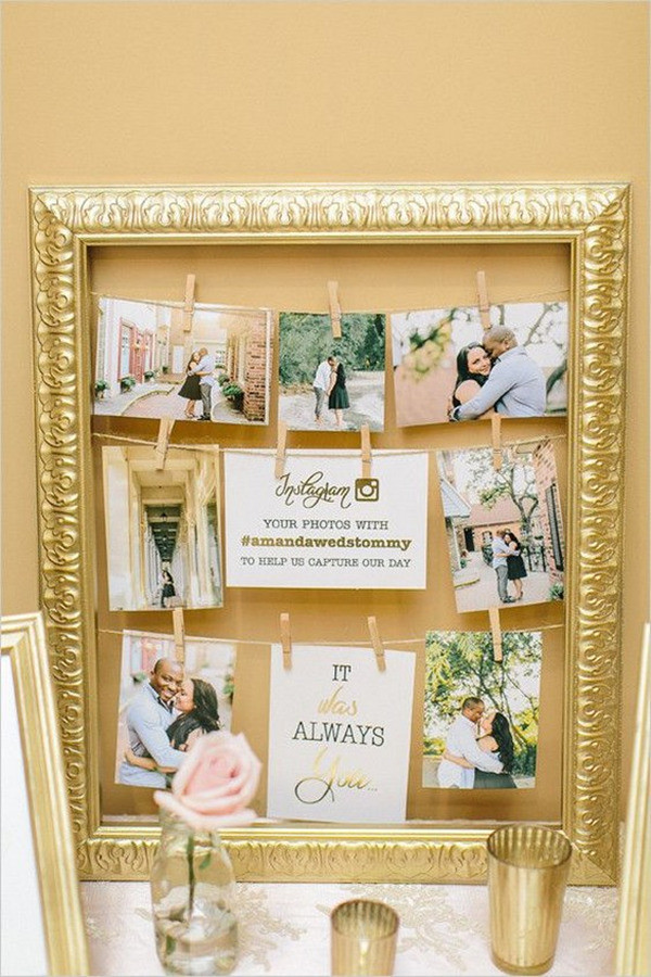 vintage wedding photo display ideas with gold frame
