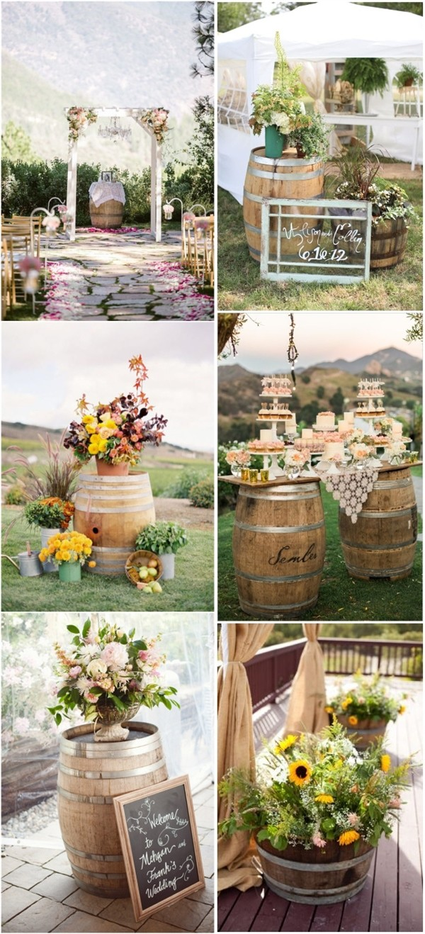 wine barrels inspired country wedding decoration ideas
