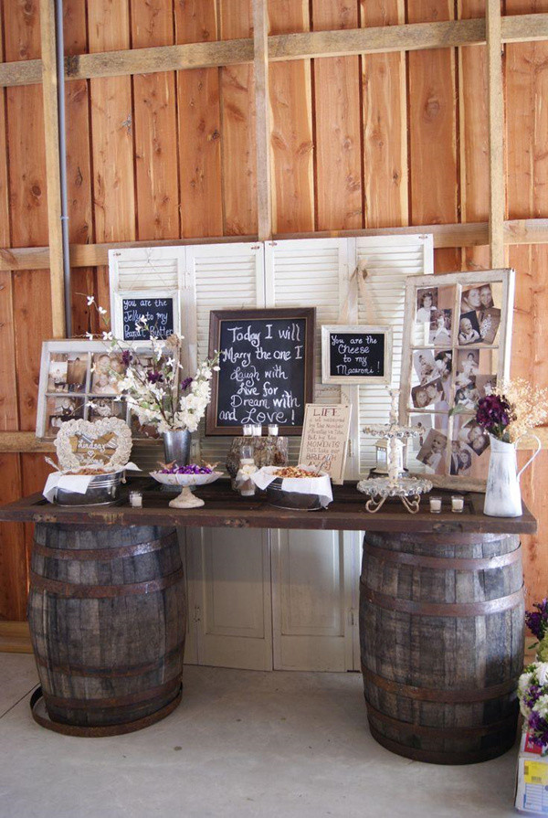wine barrels inspired wedding bar and photo display decoration ideas