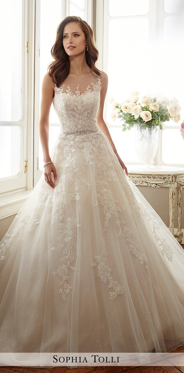 Sophia Tolli a line sleeveless wedding dresses 2017
