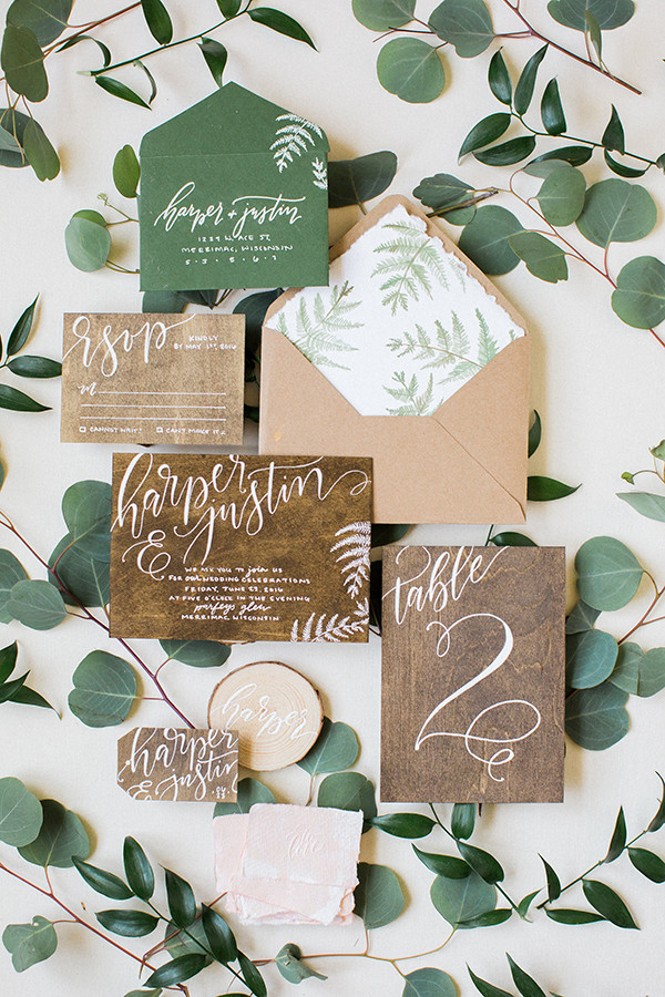 chic rustic botanical greenery wedding invitations