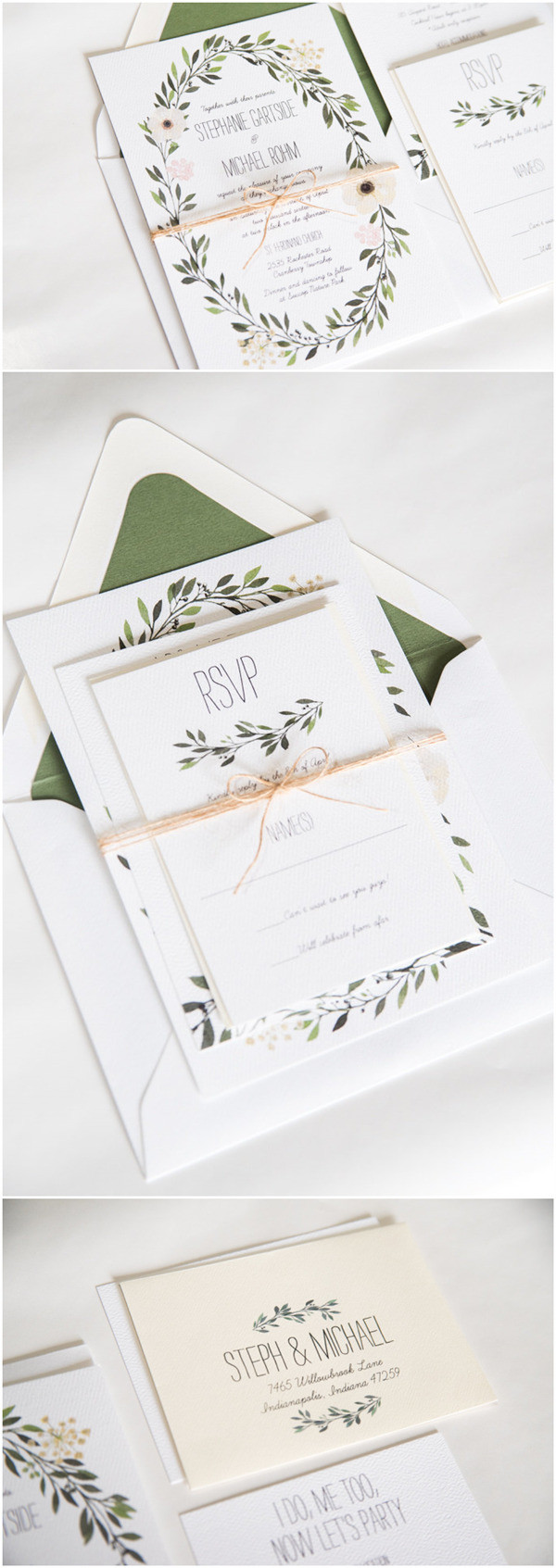 elegant green wedding invitations for 2017 trends