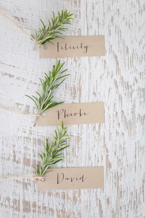 simple greenery wedding escort cards