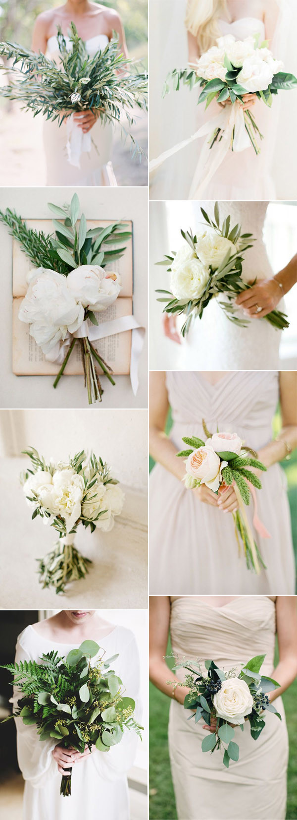 white and green botanical wedding bouquets for 2017
