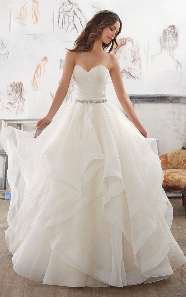 Dreamy Organza ruffles wedding ball gown from Morilee