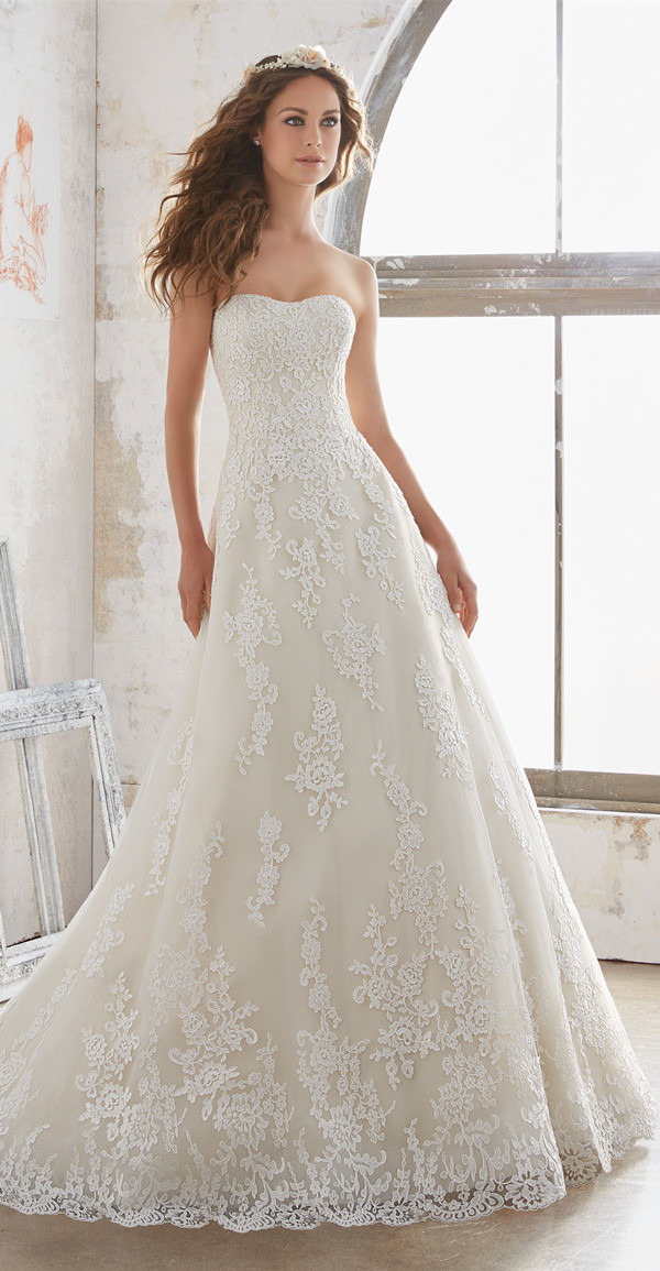 a line lace wedding dress from Morilee 2017 collection