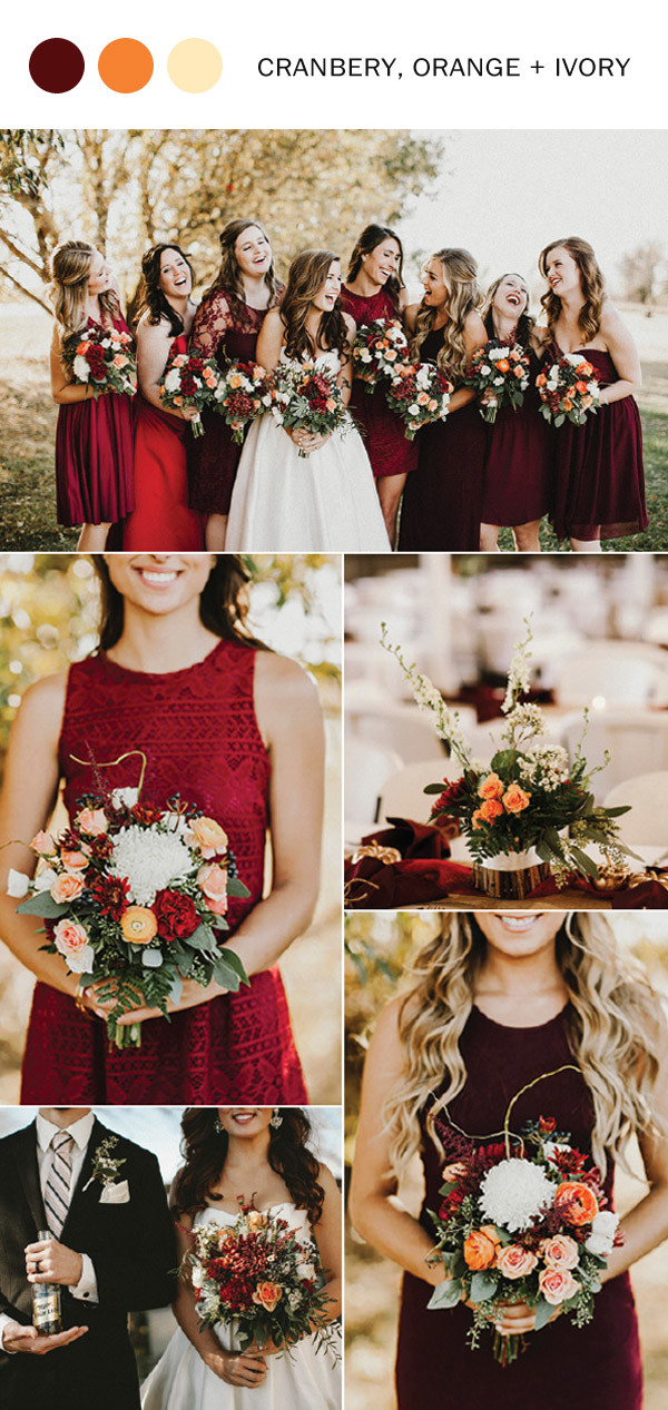 cranberry and orange fall wedding color ideas