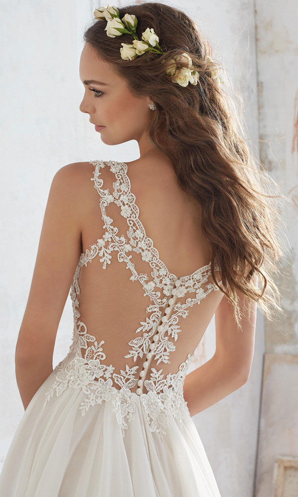 illusion back details from Morilee Madeline Gardner wedding dress