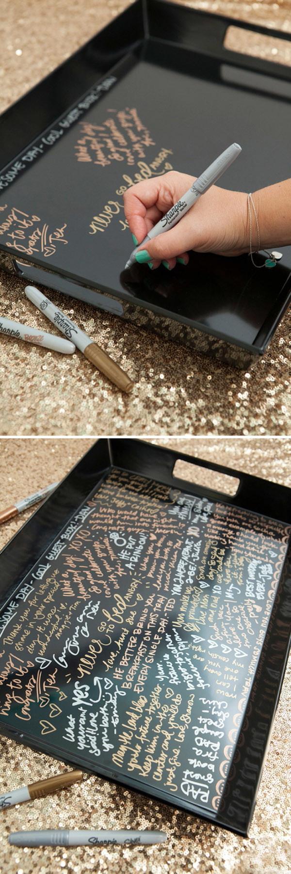creative resin coated wedding guest book ideas