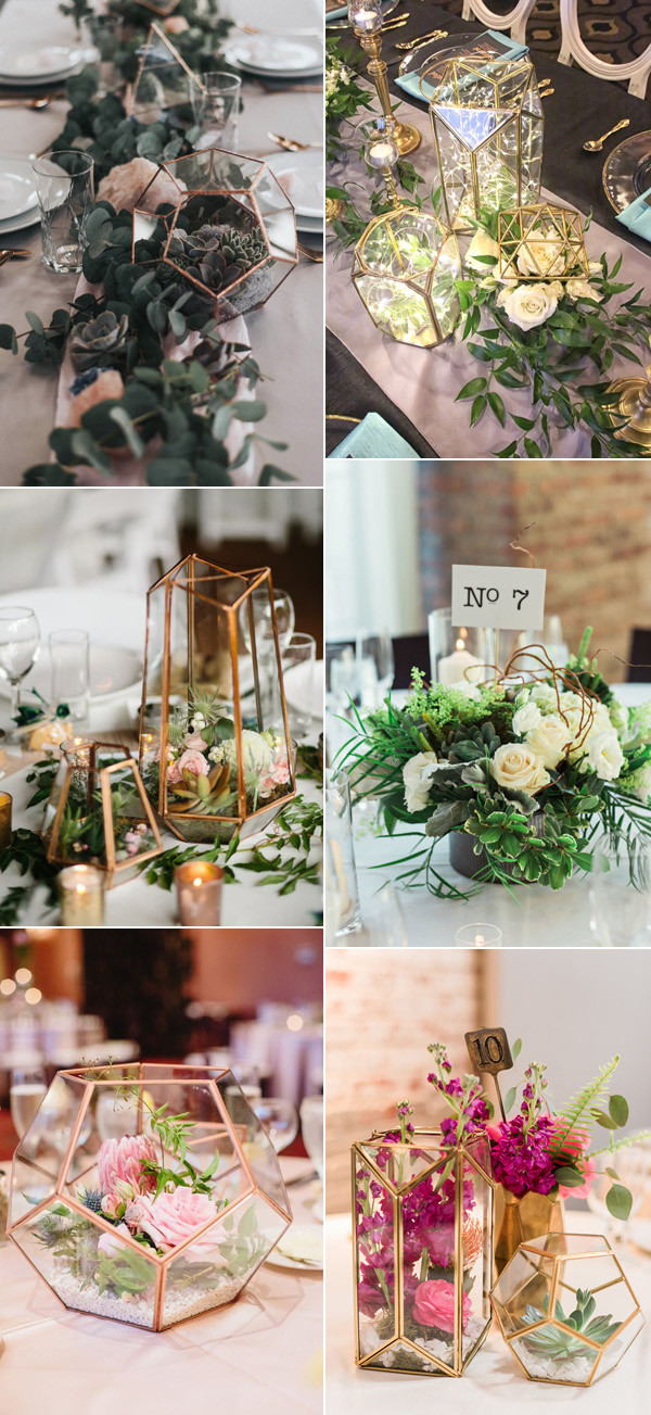 industrial geometric wedding centerpiece ideas