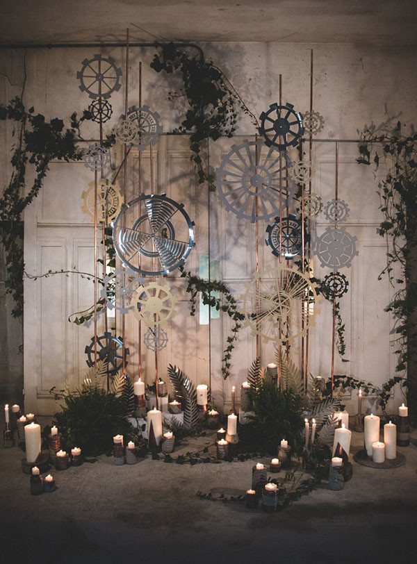 industrial themed wedding ceremony backdrop ideas