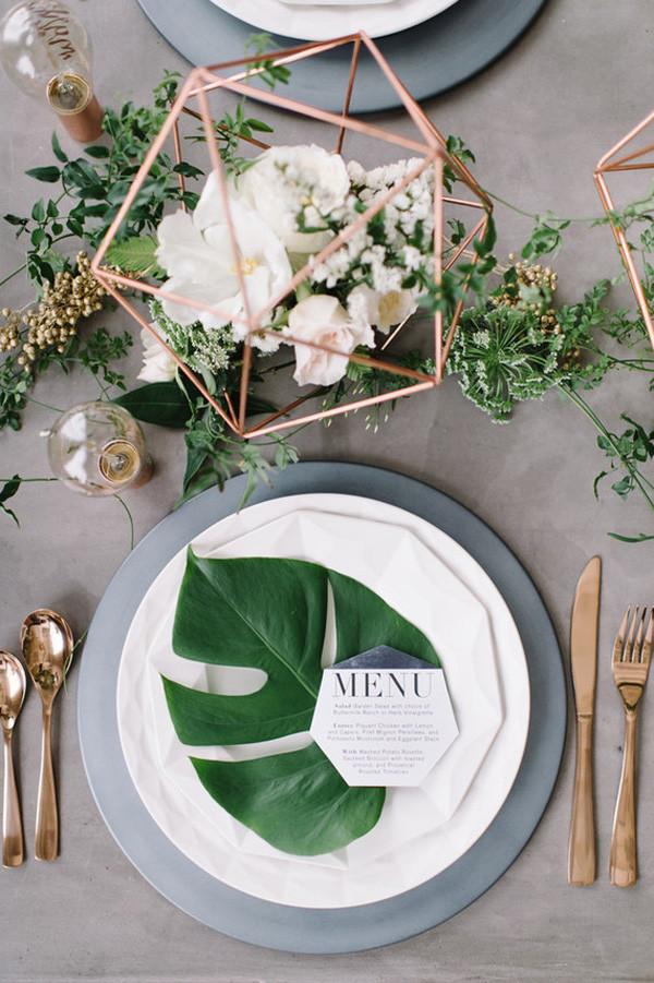 modern industrial greenery and copper geometric wedding centerpiece ideas