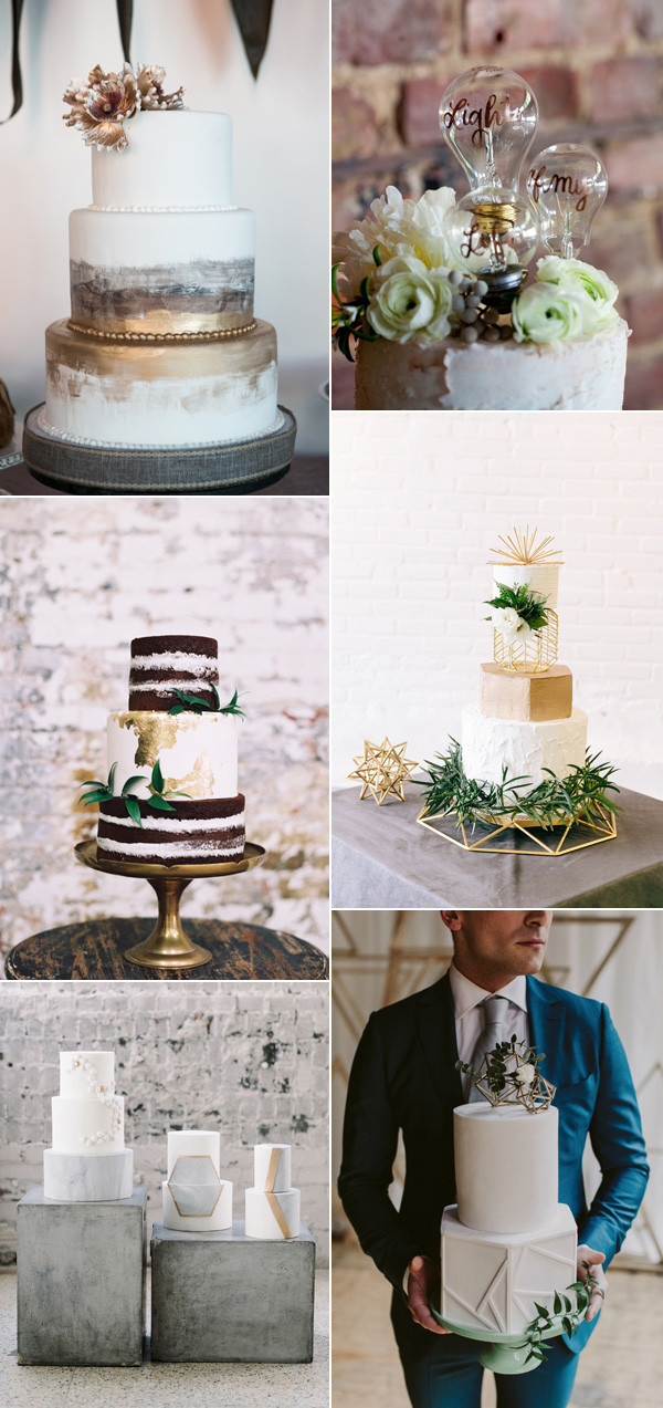 modern industrial wedding cakes